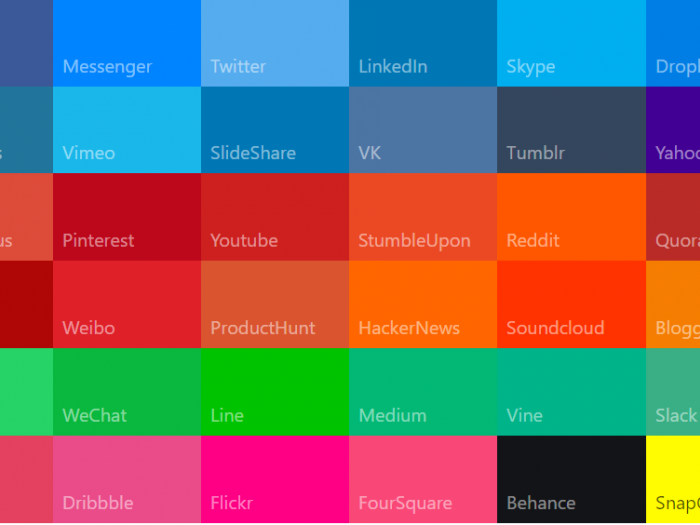 Social media colors - material UI